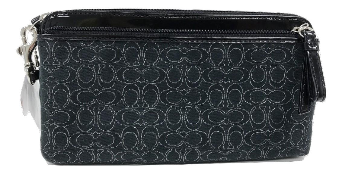 AUTH  Coach Wallet Wristlet Purse Clutch Black White Double Zipper F51155