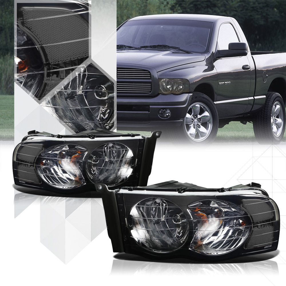Smoke Tinted Headlight Clear Signal Reflector for 02-05 Dodge Ram 1500/2500/3500