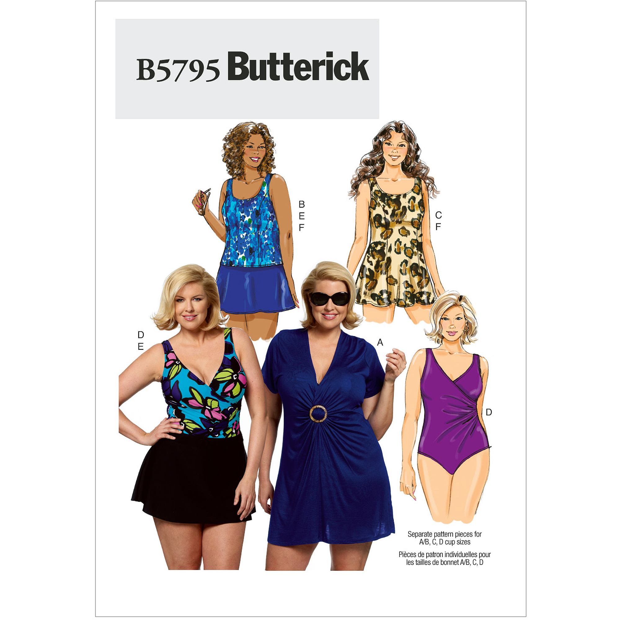 Butterick Pattern Women's Cover-Up, Top, Swimdress, Swimsuit, Skirt and Briefs, RR (18W, 20W, 22W, 24W)