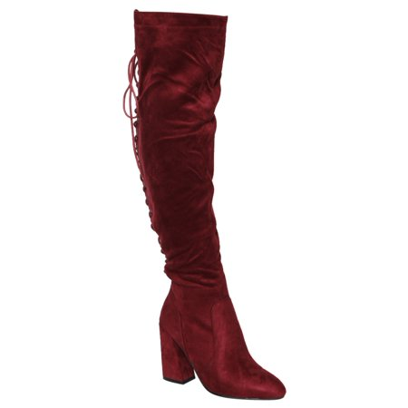 1f9aa84b683d Faux Suede - Beston FM30 Women's Back Lace Up Side Zipper Block Heel Over  The Knee High Boots - Walmart.com