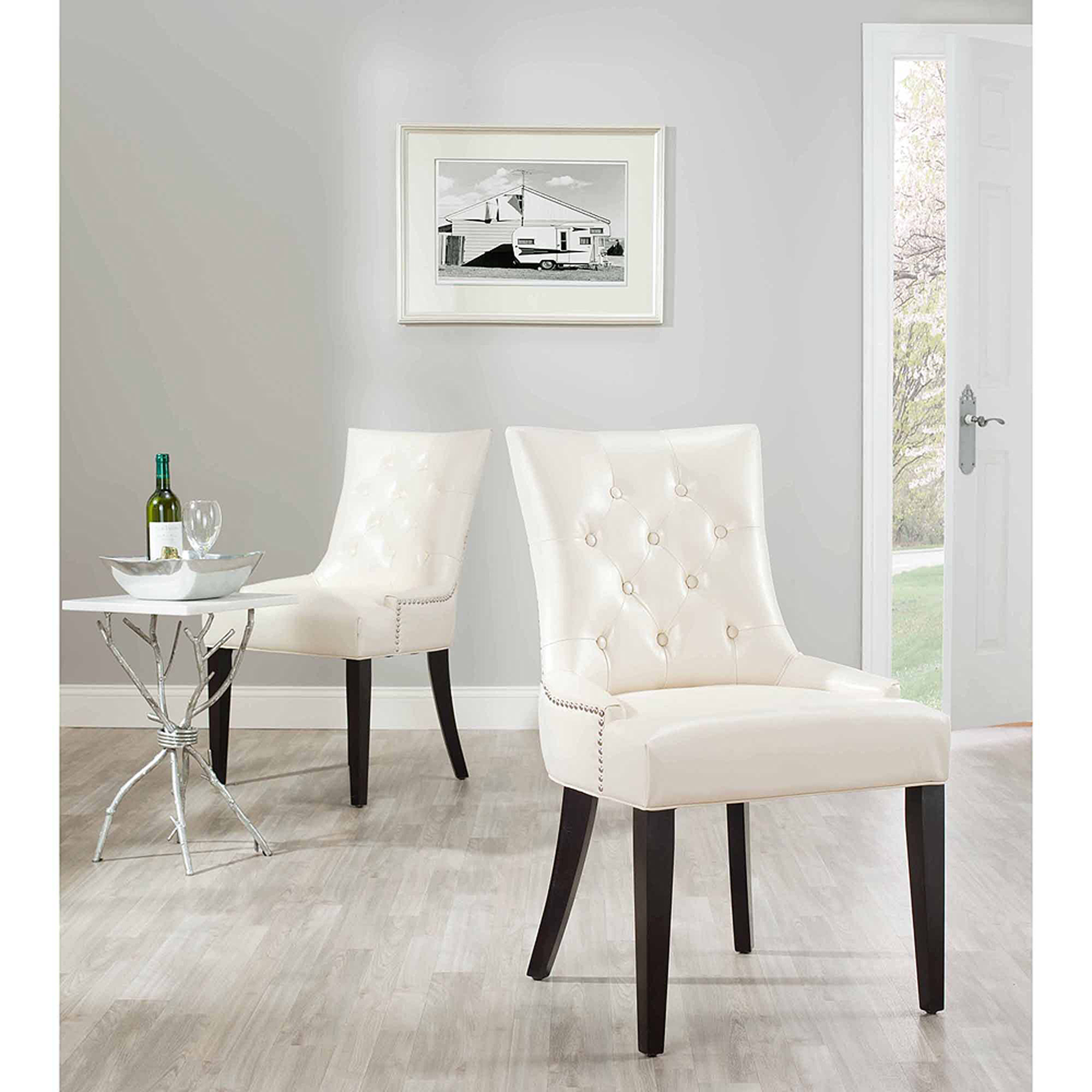 Safavieh Abby Bicast Leather Side Chair Set of 2 Walmart