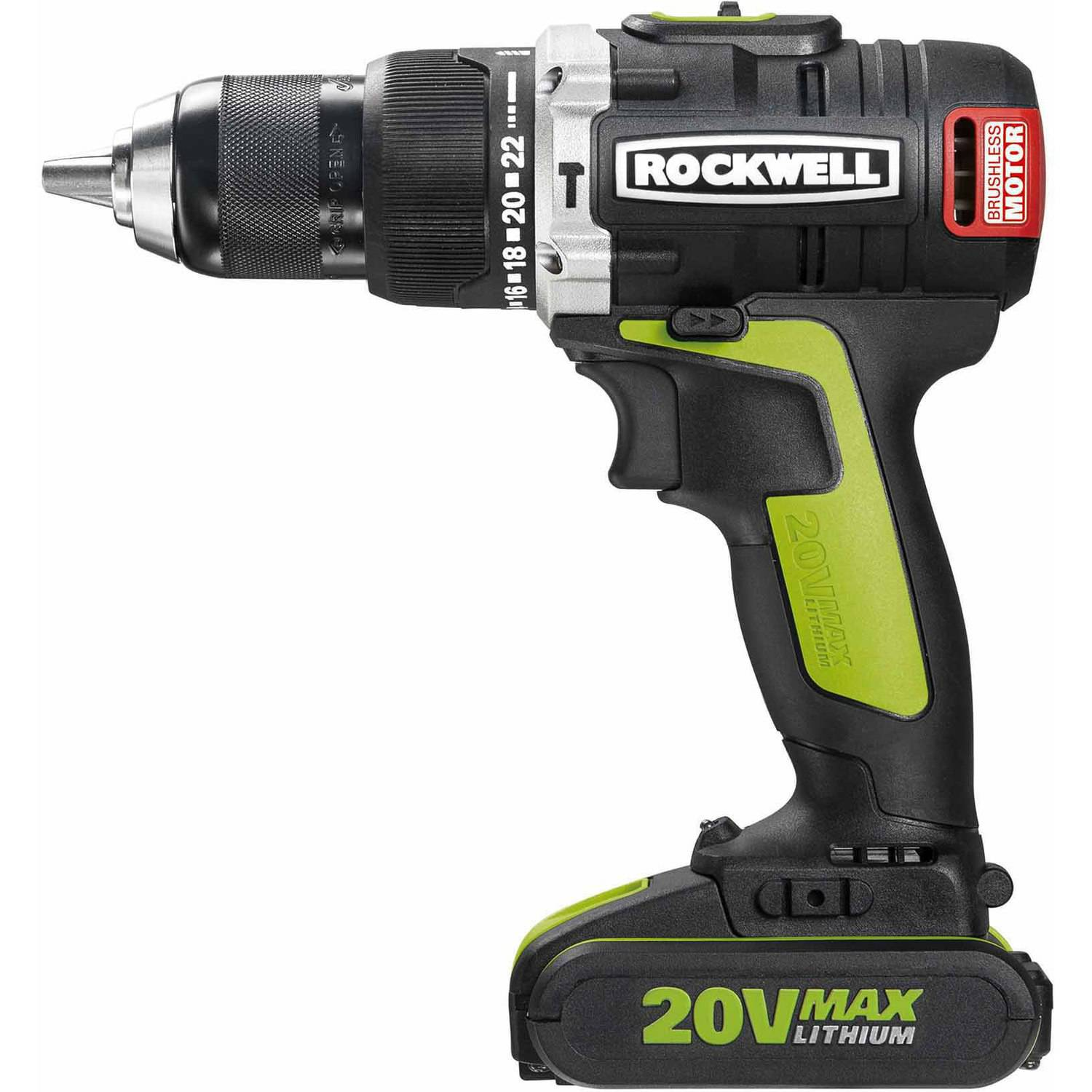 Rockwell 20V Li-ion Brushless Hammer Drill with 2-2.0Ah Batteries by Positec Technology