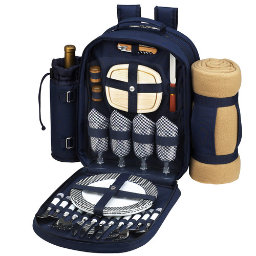 Freeport Park Picnic Backpack Cooler with Blanket and Four Place Settings