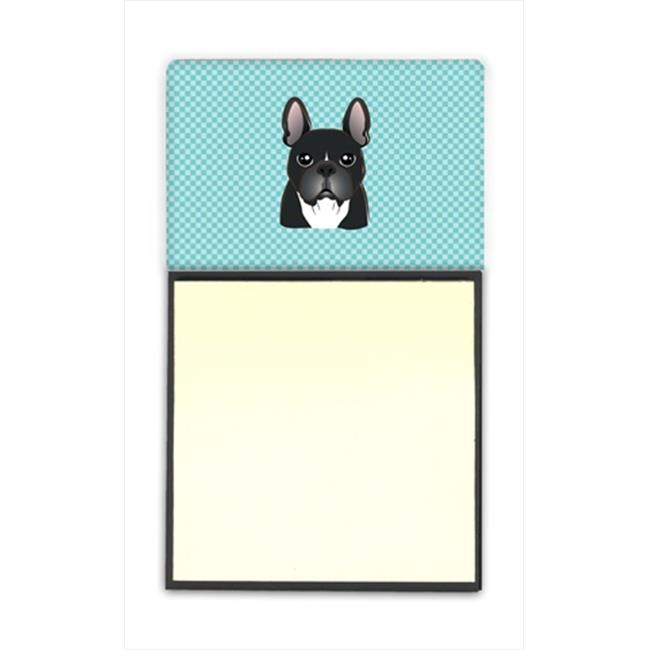 Carolines Treasures BB1165SN Checkerboard Blue French Bulldog Refiillable Sticky Note Holder Or Postit Note Dispenser, 3 x 3 In. - image 1 of 1