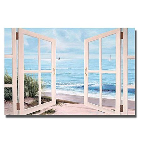 Sandpiper Beach Door by Diane Romanello Premium Gallery-Wrapped Canvas Giclee Art - Ready-to-Hang, 24 x 36 x 1.5 in.