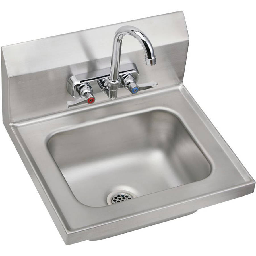 Elkay CHSB1716C Commercial Stainless Steel Handwash Sink Package with 2 Faucet Holes