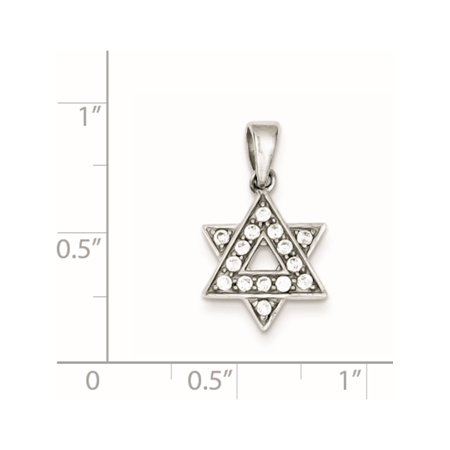 925 Sterling Silver CZ Star of David (12x14mm) Pendant / Charm - image 1 de 2