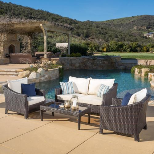 Christopher Knight Home  Outdoor Antibes 4-piece Wicker Chat Set with Cushions