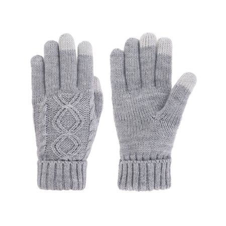 - Simplicity Women's Three Fingers Knit Touchscreen Gloves, Grey