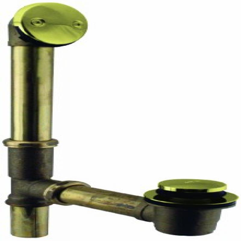 Westbrass Tip Toe Bath Waste - 14 in. Make-Up, 17 Ga. Tubing D325 in Polished Brass