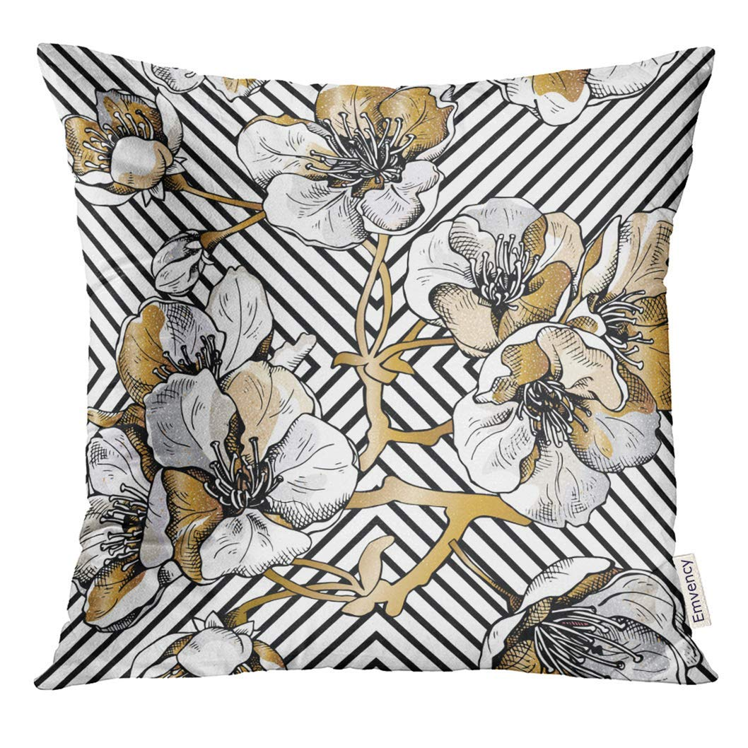 USART Silver Floral with Gold Flowers Cherry on Black Geometric Beige Japanese Pillow Case 16x16 Inches Pillowcase