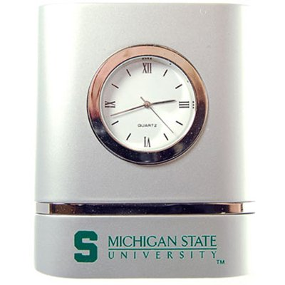 - Michigan State Spartans Brushed Silver Desk Clock