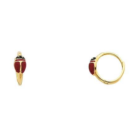 14K Solid Yellow Gold Ladybug Cubic Zirconia Huggies Hoop Earrings](Yellow Lady Bug)