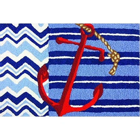 Jellybean Indoor Outdoor Machine Washable Rug, Nautical Chevron Ships Anchor