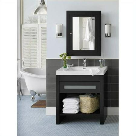 single bathroom vanity with medicine cabinet in black