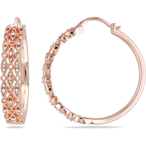 Miabella 1/8 Carat T.W. Diamond Pink Rhodium over Sterling Silver Hoop Earrings