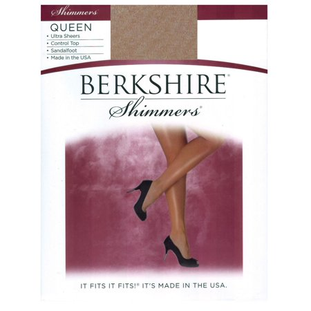 Berkshire Women's Plus Size Queen Shimmers Ultra Sheer Control Top Pantyhose - Sandalfoot 4412, Gold, - Silver Metallic Tights