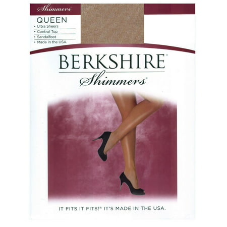 Berkshire Women's Plus Size Queen Shimmers Ultra Sheer Control Top Pantyhose - Sandalfoot 4412, Gold, 1x-2x