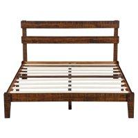 Sleeplanner Rustic Wood Platform Bed with Headboard