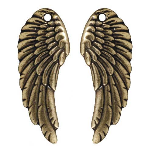 Antiqued 22K Gold Plated Lead-Free Pewter Wing Charms 28mm (2)