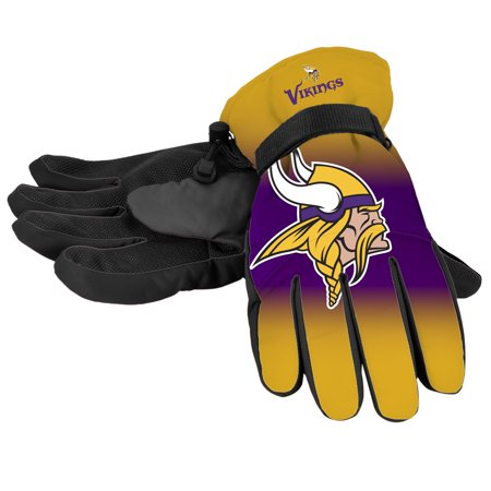 Forever Collectibles   Nfl Gradient Big Logo Insulated Gloves Small Medium  Minnesota Vikings