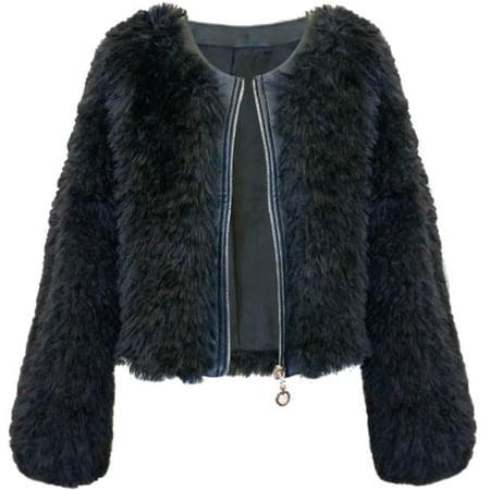 Big Girls Tween 7-16 Faux Leather Trim Faux Fur Bolero Jacket, 16 [HBN04804]