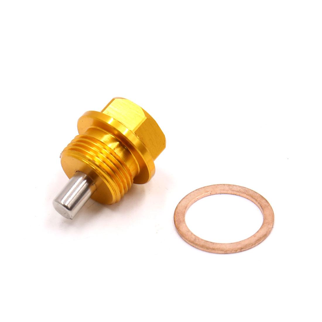 Gold Tone Aluminum Alloy Magnetic Car Engine Oil Pan Drain Bolt