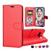 Samsung Galaxy S10 Case, Galaxy S10 Wallet Case, S10 Pu leather Cover, Njjex Buit in 3 Card Slot PU Leather Magnetic Protective Cover with Photo Window and Wrist Strap Wallet Cases -Red