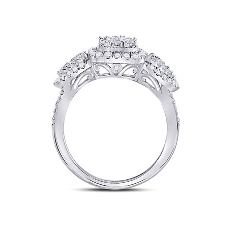 10kt White Gold Womens Round Diamond Square Halo Cluster Ring 1-1/4 Cttw - image 1 of 4