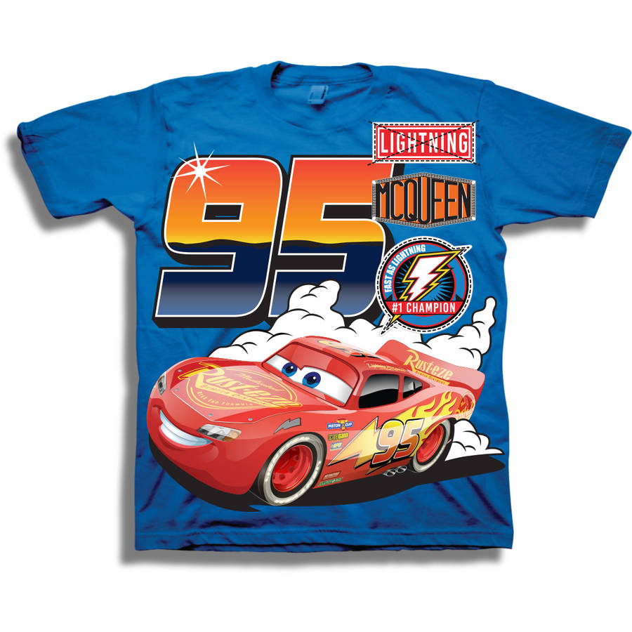 Cars Toddler Boy Lightning McQueen Short Sleeve Graphic T-Shirt With Faux Patches