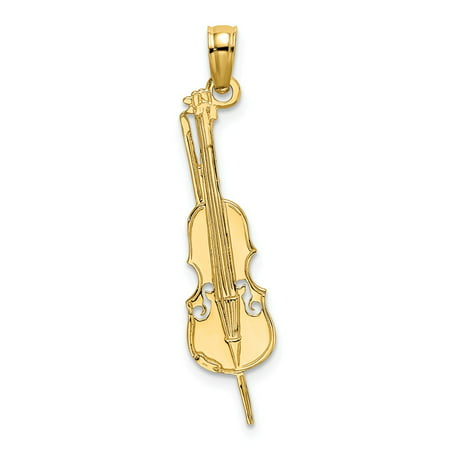 14k Yellow Gold Solid Polished & Engraved UPRIGHT BASS Charm