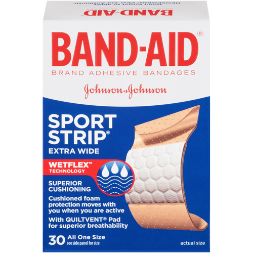 Band-Aid Extra Wide Sport Strip Adhesive Bandages, 30ct