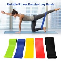 Set of 5 Exercise Resistance Loop Bands with Carry Bag Latex Gym Strength Training Loops Bands Workout Bands Home Fitness Physical Therapy