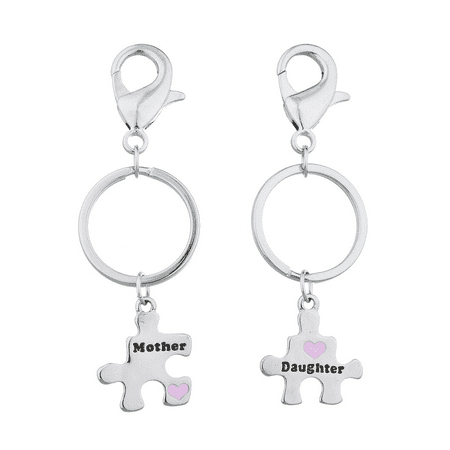 Lux Accessories Silver Tone Mother Daughter Puzzle Pieces Charm Keychain Set 2PC