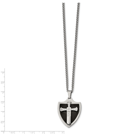 Stainless Steel Polished Black IP-plated with CZ Cross Shield Necklace 24in - image 1 of 3
