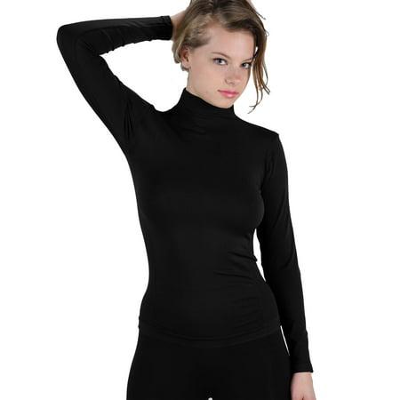 Women Stretch Long Sleeve Mock neck Turtleneck Top Slim Fit Tight Shirt Long Sleeved Turtleneck
