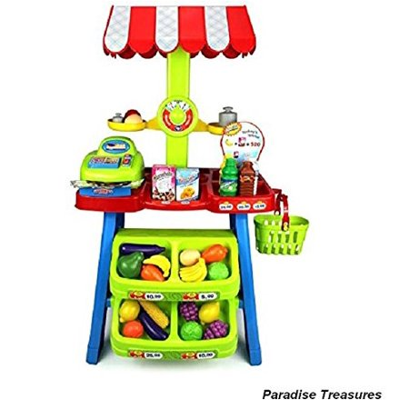 Toy Cash Register and Super Market Stall with Pretend Play Food Scales,Money,Shopping Basket Grocery For Kids Children 3+(US Seller)