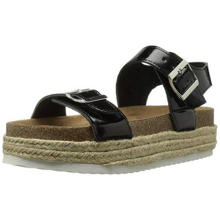 Patent Espadrille (Qupid Women's Geona-02 Espadrille Wedge Sandal, Black, Size 5.0 )