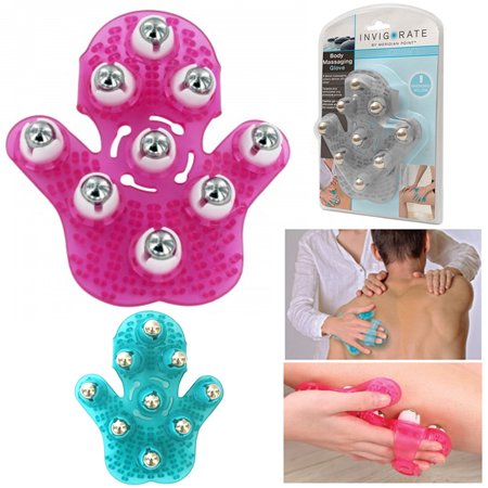 - 2 Body Massaging Glove 360 Rotatable 9 Metal Roller Hand Held Body Care Stress