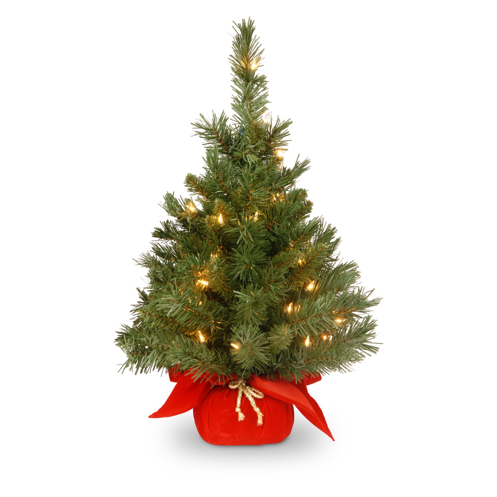 """National Tree Pre-Lit 24"""" Majestic Fir Artificial Christmas Tree with 35 Clear Lights and Red Cloth Bag"""