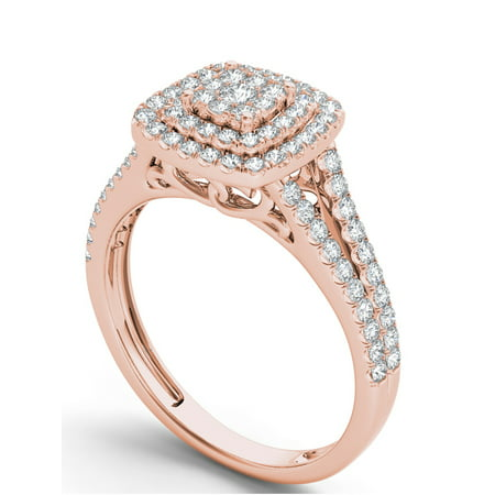 Imperial 1/2Ct TDW Diamond 10K Rose Gold Diamond Double Halo Engagement (Double Rose Rings)