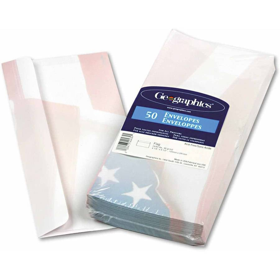 "Geographics Design Envelope, Flag, 4"" x 9-1/2"", 50/Box"