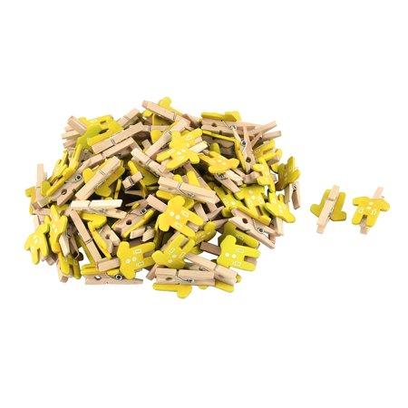 Card Photo Paper Clothes Shape Crafts Mini Wooden Clip Peg Yellow 100pcs - image 2 de 2