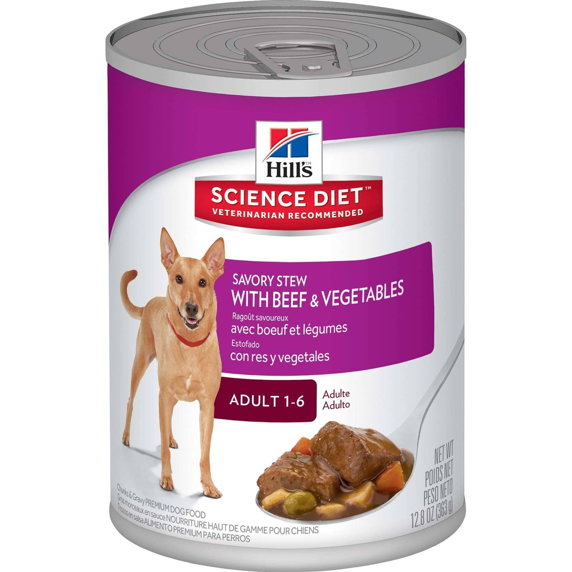 Hill's Science Diet Adult Savory Stew with Beef & Vegetables Canned Dog Food, 12.8 oz, 12-pack