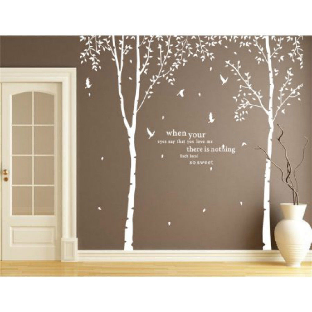 Popeven White Tree Wall Decal Vinyl Large Birch Tree Sticker Fou2026