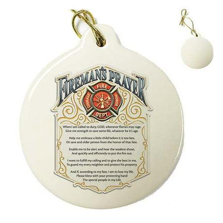 Firefighter Fireman's Prayer Porcelain Ornament (in Gift