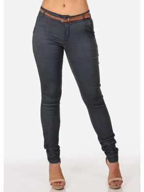 Womens Juniors Women's Junior Ladies Dressy Stretchy Going Out Business Career Office Wear Low Rise Below The Waist Skinny Leg Denim Style Color with Belt Included Dressy Pants 10009X