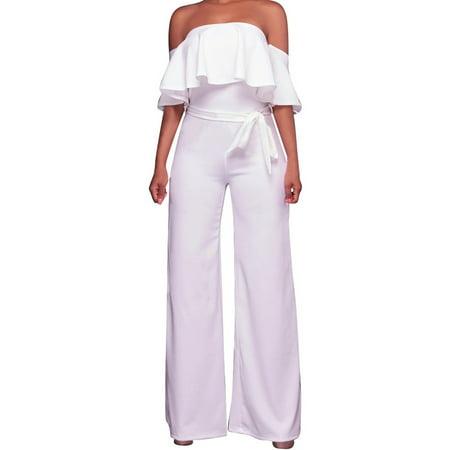 ead003151b7e Cold Shoulder Flared Women s Solid Color Jumpsuit - Walmart.com
