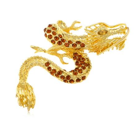 Shiny Gold Tone Topaz Rhinestone Crystal Chinese Dragon Whisker Loud Pin - Citrine Dragon