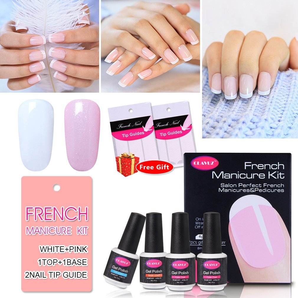 French Manicure Kit Nail Gel Polish Top Coat and Base Coat Pink White Nail Lacquers DIY Nail Art at Home Nail Sticker Gift Box Set by CLAVUZ